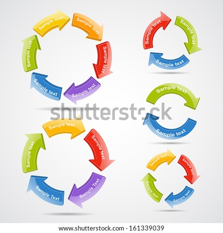 Vector circle 3D arrows set for infographic. Template for diagram, graph, presentation and chart. Business concept with 2, 3, 4, 5 and 6 options, parts, steps or processes. Abstract background. - stock vector