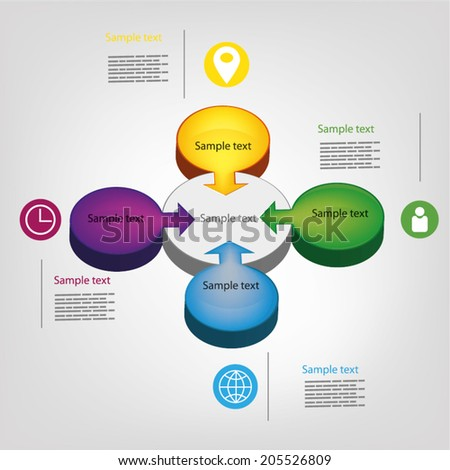 Vector circle 3d business concepts with icons, can use for infographic, modern template,  business brochure  - stock vector