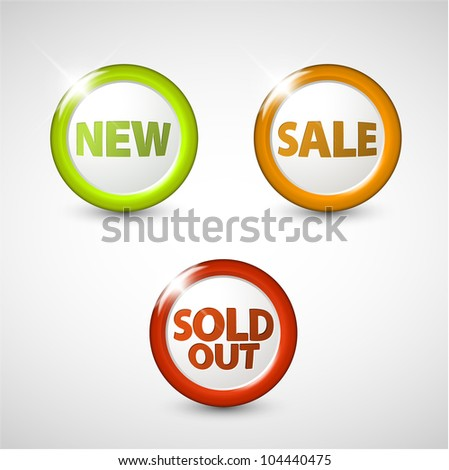 Vector circle 3D buttons for sale, new and sold out items - stock vector