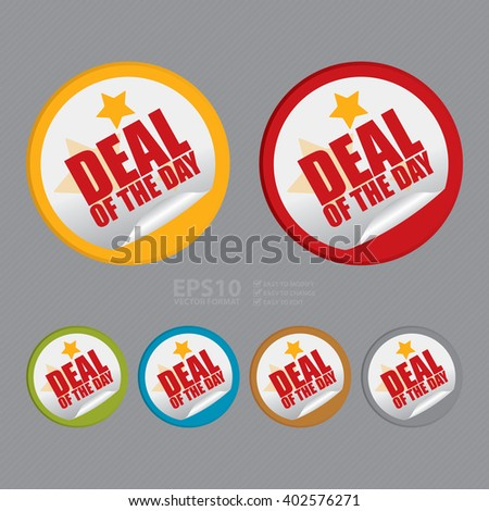 Vector : Circle Deal of The Day Product Label, Campaign Promotion Infographics Flat Icon, Peeling Sticker, Sign - stock vector