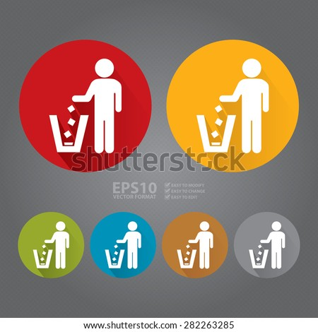 Vector : Circle Dustbin, Litter Bin or Trash Can Long Shadow Style Icon, Label, Sticker, Sign or Banner - stock vector