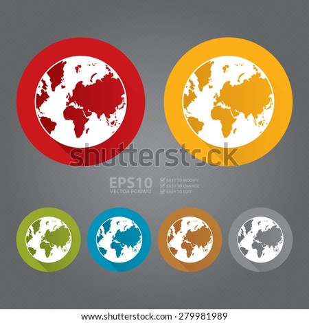 Vector : Circle Earth Planet Flat Long Shadow Style Icon, Label, Sticker, Sign or Banner  - stock vector