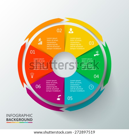 Vector circle elements for infographic. Template for cycling diagram, graph, presentation and round chart. Business concept with 6 options, parts, steps or processes. Abstract background - stock vector