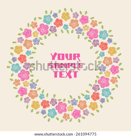 Vector circle flower frame. Simple original border with text box. Cute floral hand drawn illustration for print, web - stock vector