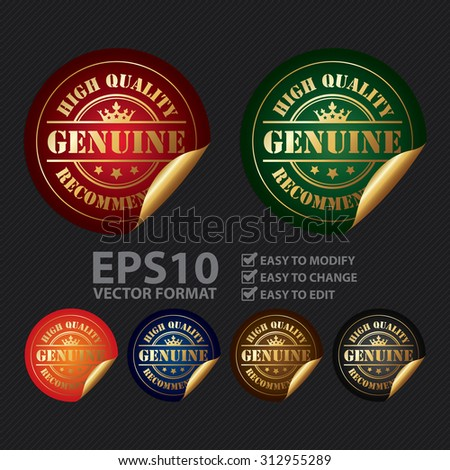 Vector : Circle Genuine High Quality Recommended Infographics Peeling Sticker, Label, Icon, Sign or Badge - stock vector