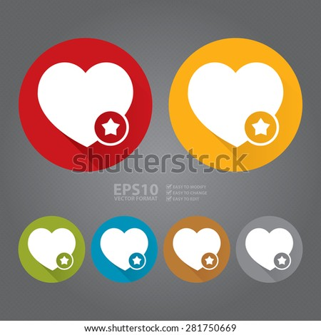Vector : Circle Heart With Star Flat Long Shadow Style Icon, Label, Sticker, Sign or Banner