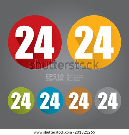 Vector : Circle 24, 24HR, 24HRS, 24 Hours Service, 24 Hours Open Long Shadow Style Icon, Label, Sticker, Sign or Banner - stock vector