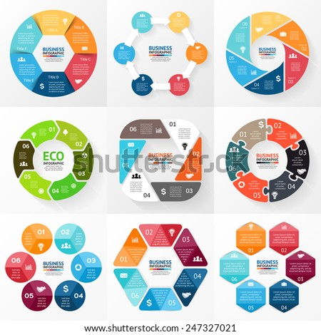 Vector circle infographic. Template for cycle diagram, graph, presentation and round chart. Business concept with 6 options, parts, steps or processes. Abstract background. - stock vector