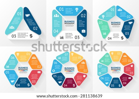 Vector circle infographic. Template for cycle diagram, graph, presentation and round chart. Business concept with 3, 4, 5, 6, 7, 8 options, parts, steps or processes. Abstract background - stock vector