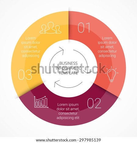 Vector circle infographic. Template for cycle diagram, graph, presentation and round chart. Business concept with 3 options, parts, steps or processes. Linear info graphic. - stock vector