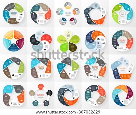 Vector circle infographic. Template for cycle diagram, graph, presentation and round chart. Business concept with 5 options, parts, steps or processes. Abstract background. - stock vector