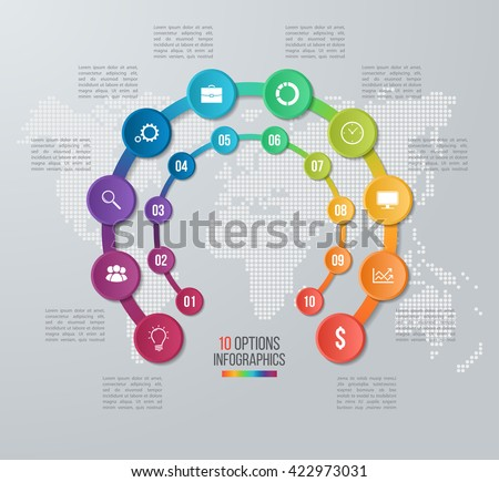 Vector circle infographic template for graphs, charts, diagrams. Business concept with 10 options, parts, steps, processes with world map on the background. - stock vector