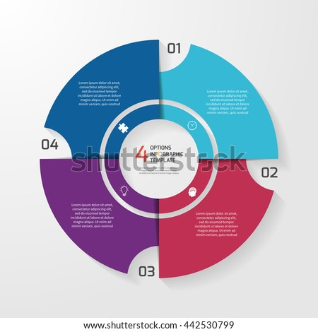 Vector circle infographic template for graphs, charts, diagrams. Pie chart concept with 4 options, parts, steps, processes. - stock vector