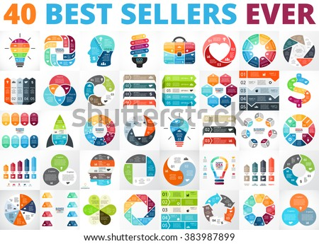Vector circle infographics. Business diagrams, arrows graphs, presentations, idea cycle charts. Data options, parts, 3, 4, 5, 6, 7, 8 steps infographic. Bulb, brain, plus, eco, heart, lines, stairs. - stock vector