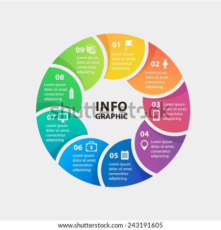 Vector circle infographics. Template for diagram, graph, presentation and chart. Business concept with 9 options, parts, steps or processes. Abstract background. - stock vector