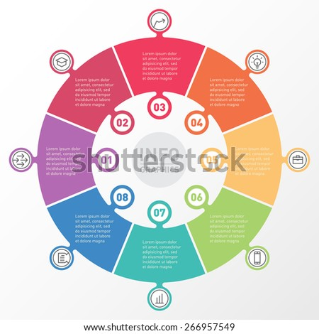 Vector circle infographics with icons. Template for presentation. Diagram concept with 8 parts or processes. Advertising brochure. - stock vector