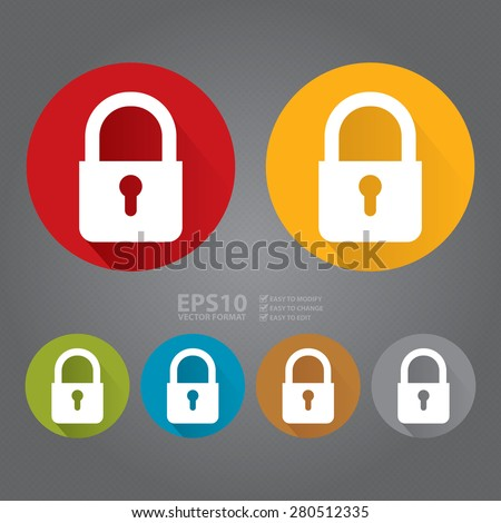 Vector : Circle Key Lock, Security Long Shadow Style Icon, Label, Sticker, Sign or Banner - stock vector