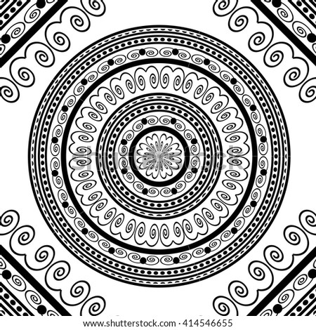 Vector Circle Lace Ornament, Round Ornamental Geometric Doily Pattern, Christmas Snowflake Decoration - stock vector