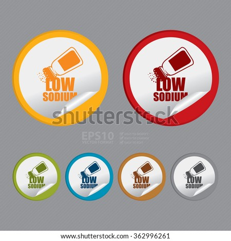 Vector : Circle Low Sodium Product Label, Infographics Flat Icon, Peeling Sticker, Sign  - stock vector