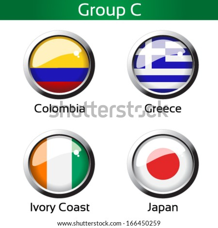 Vector circle metalic flags - football Brazil, group C - Colombia, Greece, Ivory Coast, Japan - drawing including all details  - stock vector