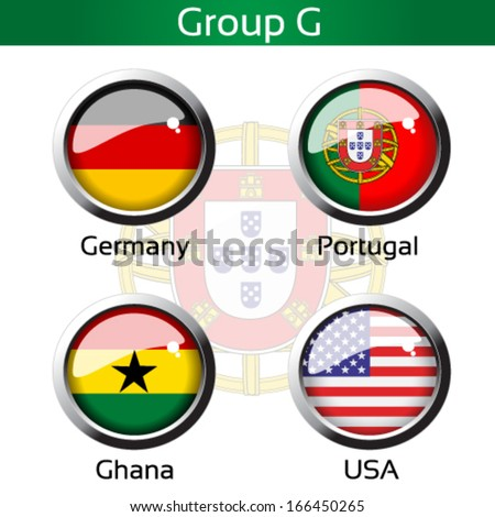 Vector circle metalic flags - football Brazil, group G - Germany, Portugal, Ghana, USA - drawing including all details - stock vector