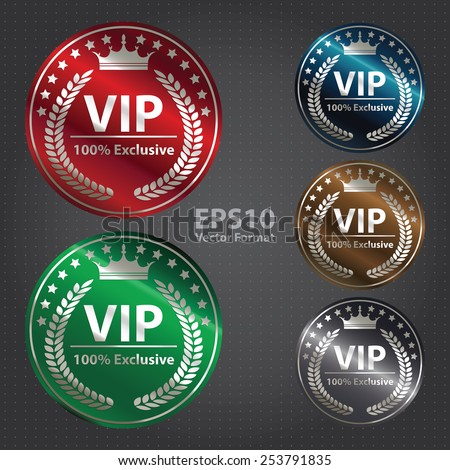 vector : circle metallic vip 100% exclusive badge, sticker, banner, sign, icon, label  - stock vector