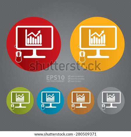 Vector : Circle PC Computer Monitor With Bar Chart, Bar Graph Flat Long Shadow Style Icon, Label, Sticker, Sign or Banner  - stock vector