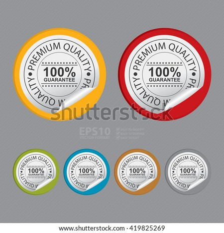 Vector : Circle Premium Quality 100% Guarantee Product Label