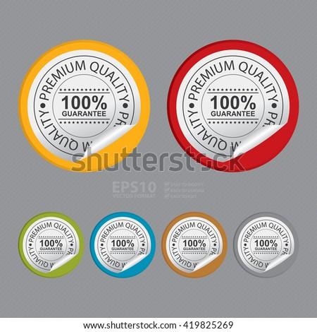Vector : Circle Premium Quality 100% Guarantee Product Label - stock vector