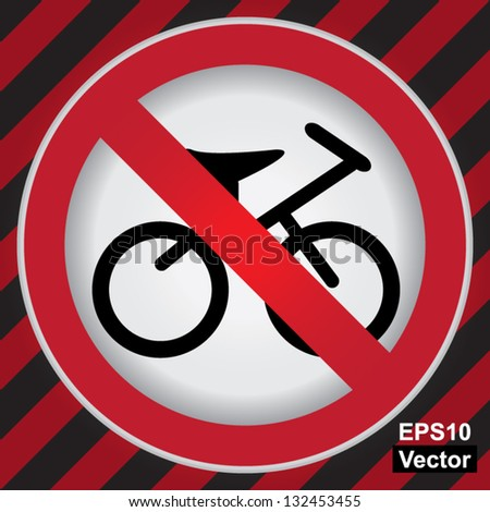 Vector : Circle Prohibited Sign For No Bicycle or No Parking Sign in Caution Zone Dark and Red Background - stock vector
