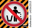 Vector : Circle Prohibited Sign For No Littering, Please Use A Trash Can or Please Keep Area Clean Concept Present By No Littering Sign in Caution Zone Dark and Yellow Background - stock photo