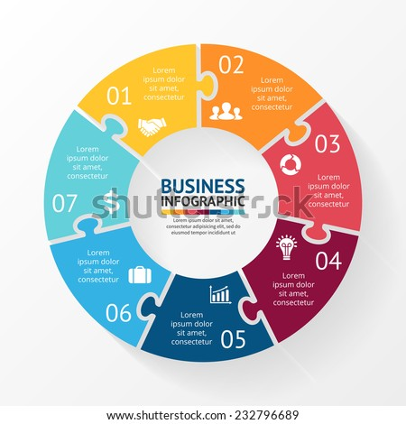 Vector circle puzzle infographic. Template for diagram, graph, presentation and chart. Business concept with 7 cyclic options, parts, steps or processes. Abstract background. - stock vector