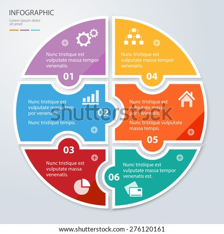 Vector circle puzzle pieces template for infographic. Business concept with 6 options. Eps 10. Can be used for diagram, banner, number options, workflow layout, step up options, web design etc. - stock vector