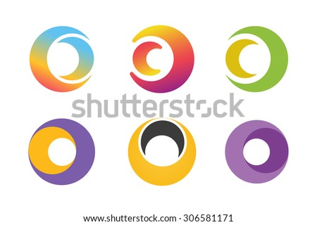 Vector circle ring logo design set. Abstract flow logo template. Round ring shape and infinity loop symbol, technology icon, geometric logo. Company logo. Logo design. Vector logo element. Web logo - stock vector