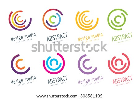 Vector circle ring logo set. Abstract flow logo template design. Round ring shape and infinity loop symbol, technology icon, geometric logo. Company logo. Logo design. Vector logo element. Web logo - stock vector