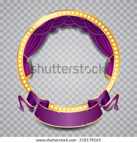 vector circle stage with purple curtain, golden frame, bulb lamps and transparent shadow - stock vector