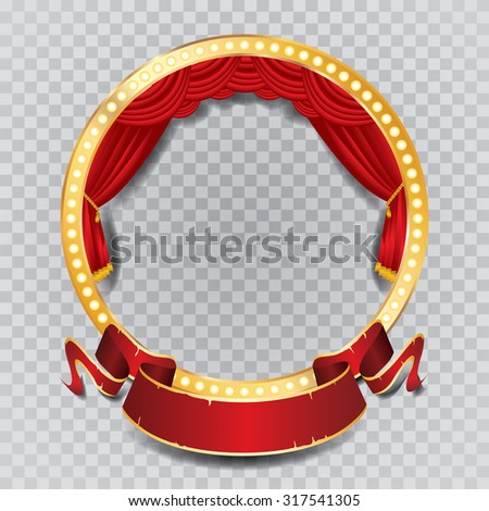 vector circle stage with red curtain, golden frame, bulb lamps and transparent shadow