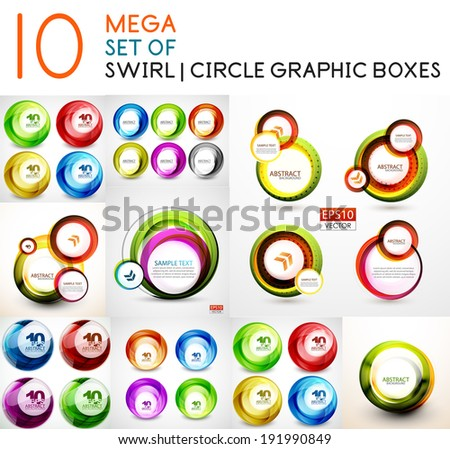 Vector circle swirl banners design collection.