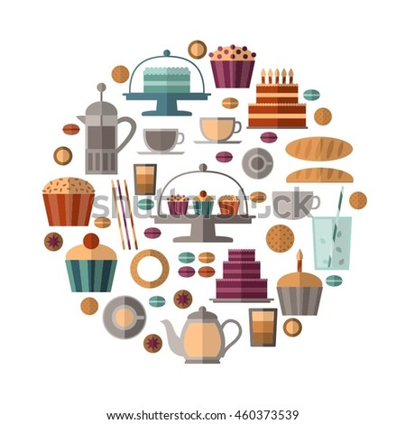 Vector circle with flat icons: cakes, cupcakes, bread, cookies, coffee, tea etc.