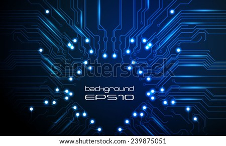 Vector circuit board blue background.