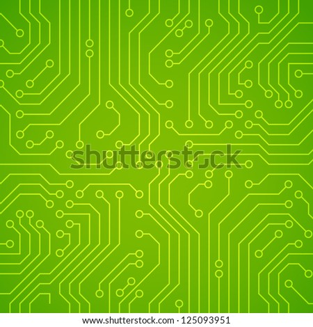 Vector circuit board. Green variant - stock vector