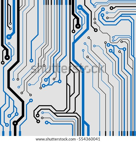 Vector circuit board illustration. Colorful flat vector illustration