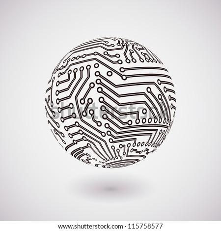 Vector Circuit Board Sphere Stock Vector 115758577 - Shutterstock