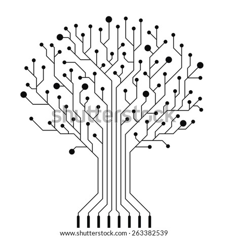 Vector circuit board tree. - stock vector