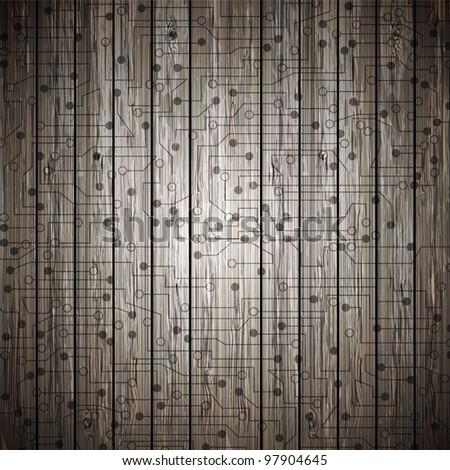 Vector circuit on wood. Eps10 - stock vector