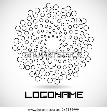 Vector Circular Halftone Dots in Spiral Form. Vector Logo Design Template. Business Icon.  - stock vector