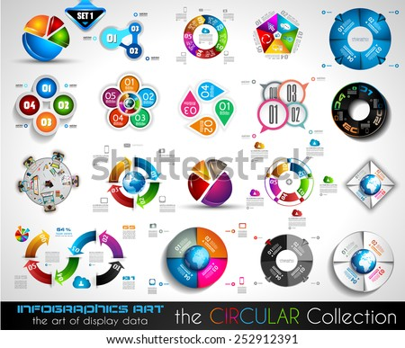 Vector Circular Infographics BIG collection for your graphs, product ranking, items classification, business presentation, high tech flyers or brochures. - stock vector