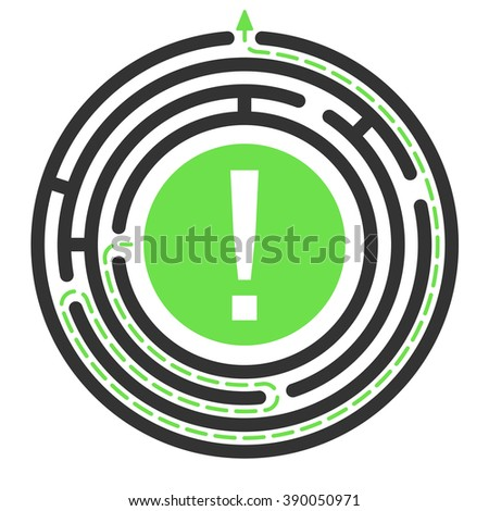 Vector Circular maze with exit. Round labyrinth. Business concept, Solving problem. Isolated on white background - stock vector