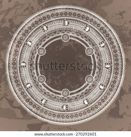 Vector circular pattern in the style of the Aztec calendar stone on a brown grunged background - stock vector