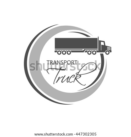 Vector circular symbol of transport with silhouette of truck, lorry. Monochrome design.